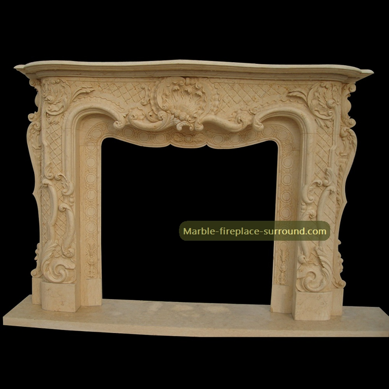 beige marble mantel fireplace