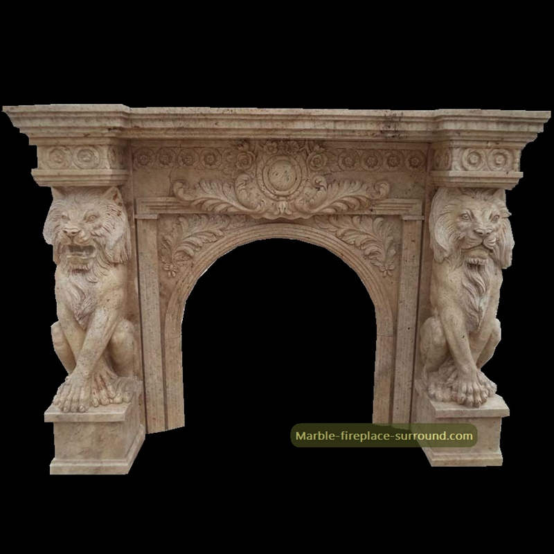 travertine fireplace with lion column