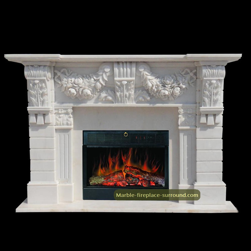 white marble floral mantel