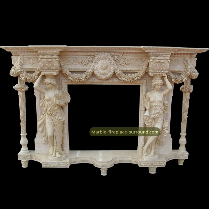 antique mantels with carving caryatid