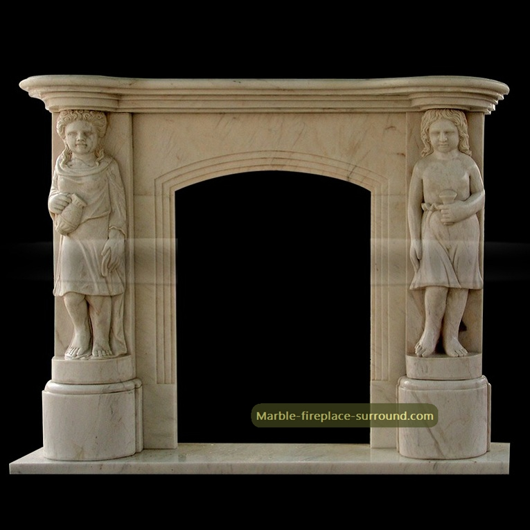 beige marble fireplace with carving caryatid