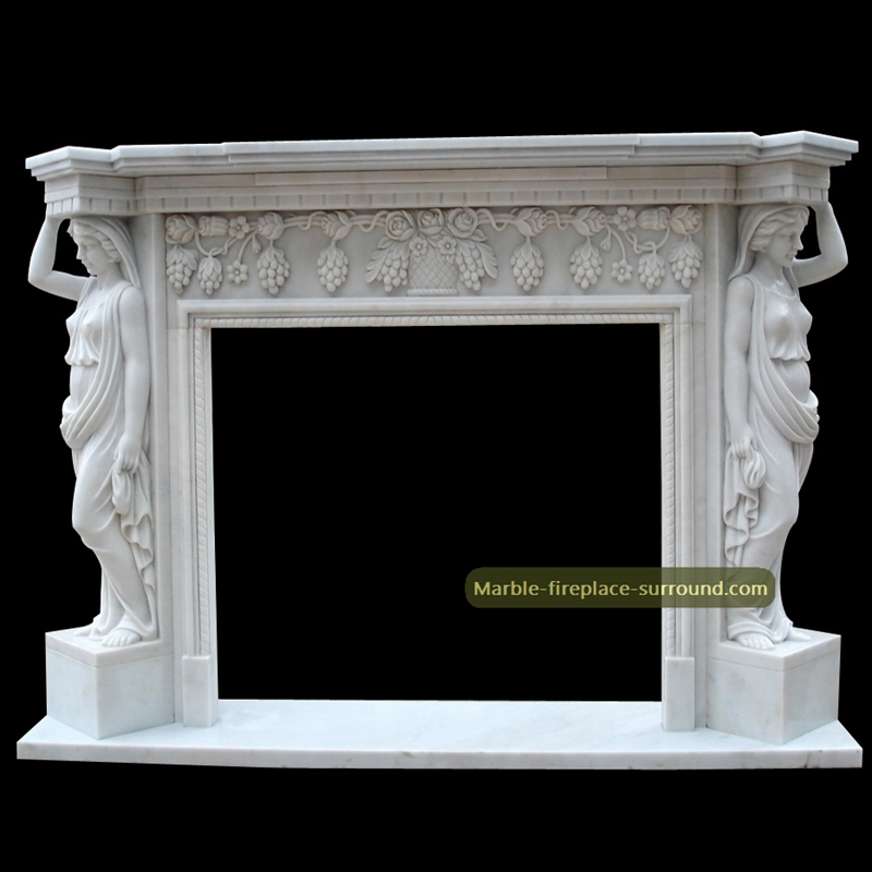 caryatid white marble fireplace