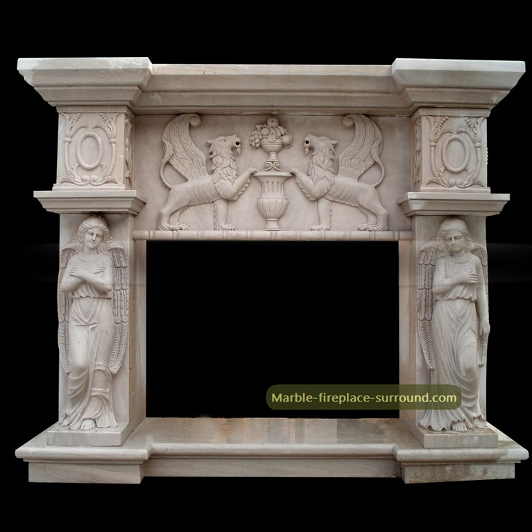 custom designed marble fireplace
