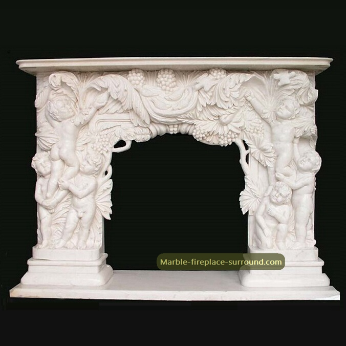 acanthus carving angel fireplace mantel