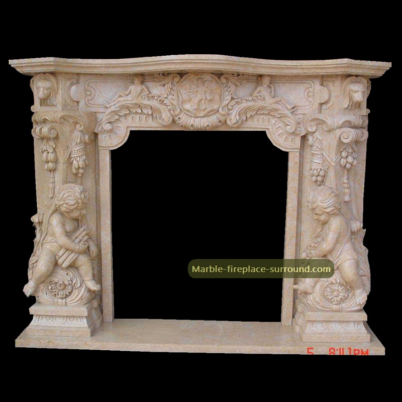 angel carved beige marble fireplaces