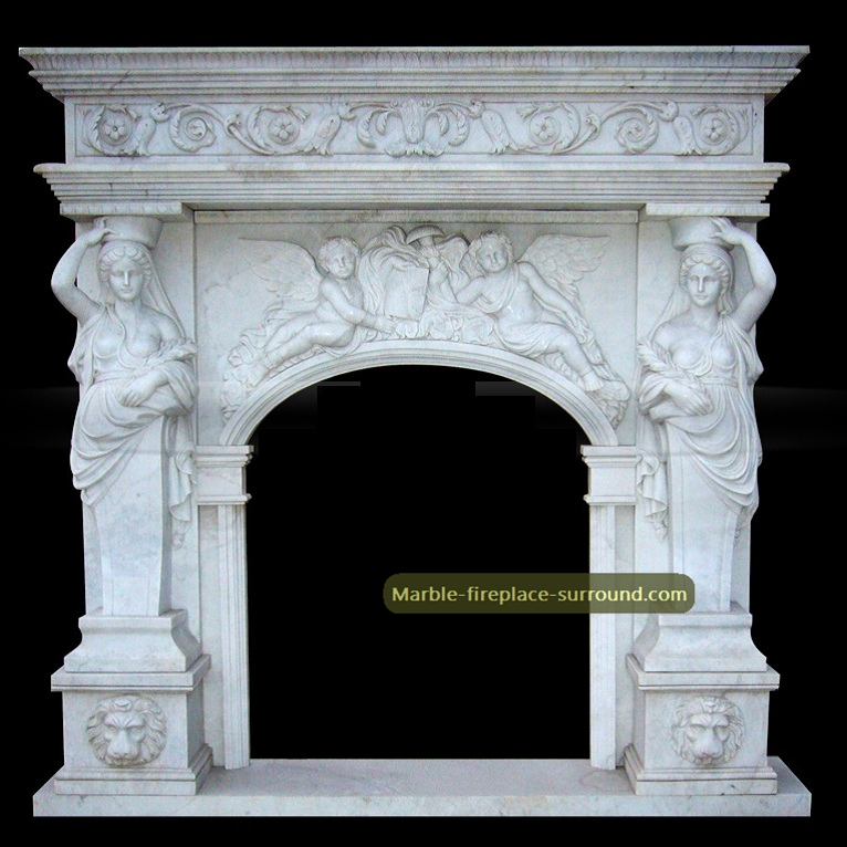 arched caryatid fireplace mantel with angel statues