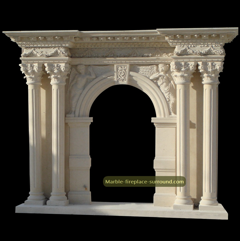 corinthian columns angel figurine fireplace mantel