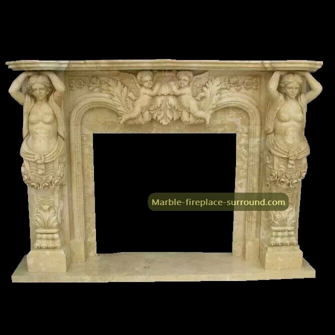 female carving columns angel fireplace mantels