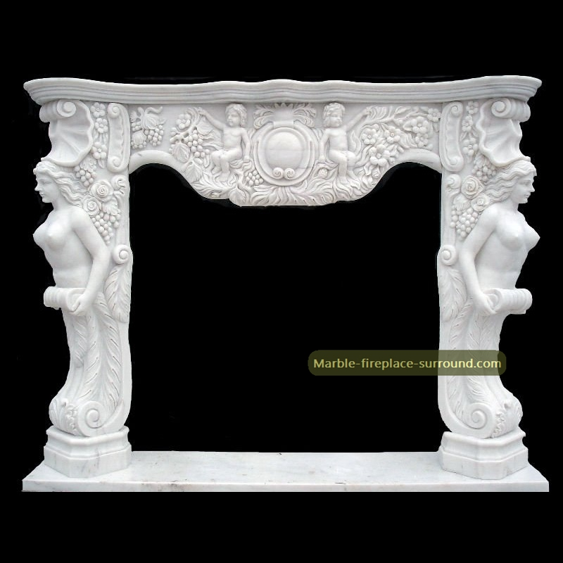 small fireplace frame with angel figurine