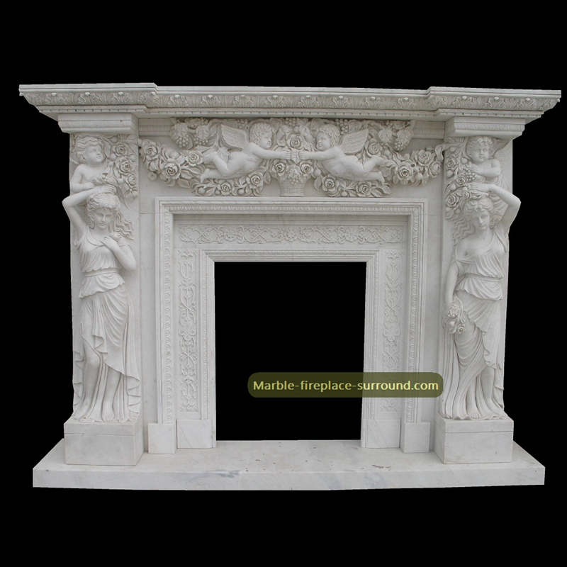 vicorian fireplace surround with angel figurine