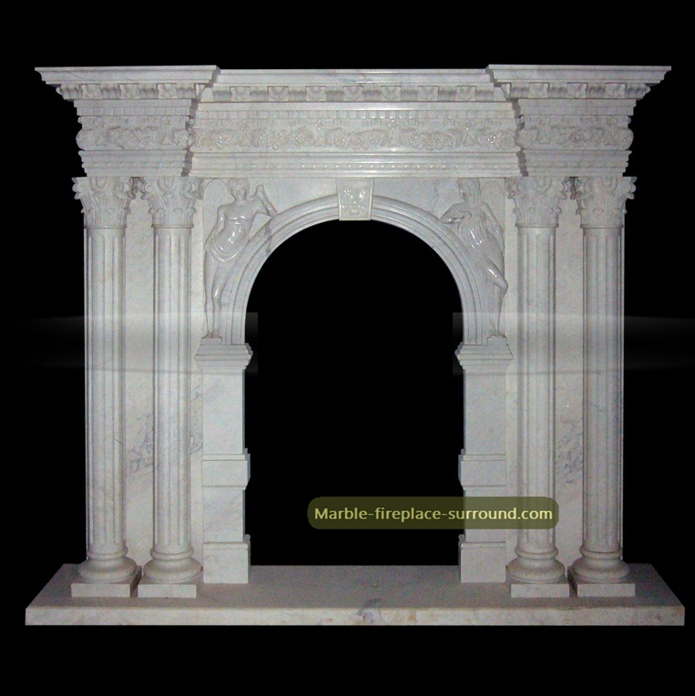 white marble arched angel fireplace surrounds