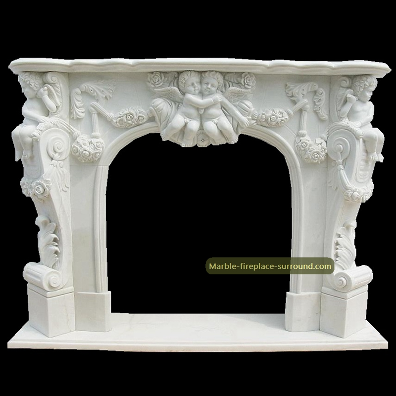 white marble fireplaces with cherubim