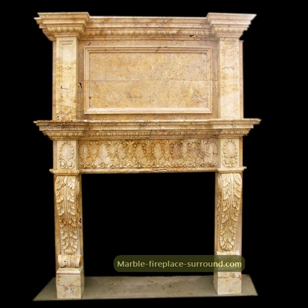 limestone fireplace mantel